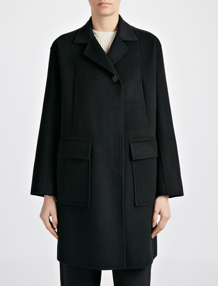 Double Wool Caplan Coat, in BLACK, large | on Joseph