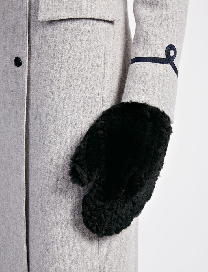 Rex Fur Gloves, in BLACK, large | on Joseph