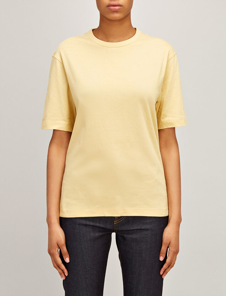 Joseph, Mercerized Jersey Boyfriend Tee, in CUSTARD