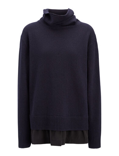Wool Cashmere + Crepe de Chine High Neck Sweater, in NAVY, large | on Joseph