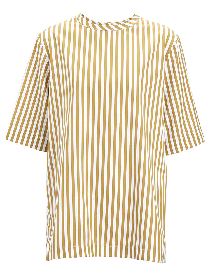 Joseph, Candy Stripe Cotton Foley Blouse, in TAWNY
