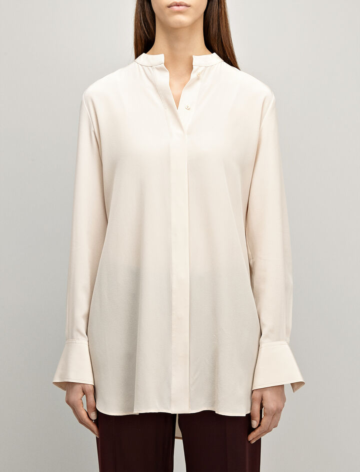 Crepe de Chine Carla Blouse, in PEARL, large | on Joseph