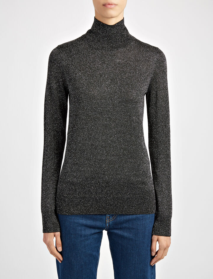 Joseph, Lurex Knit High Neck Sweater, in BLACK