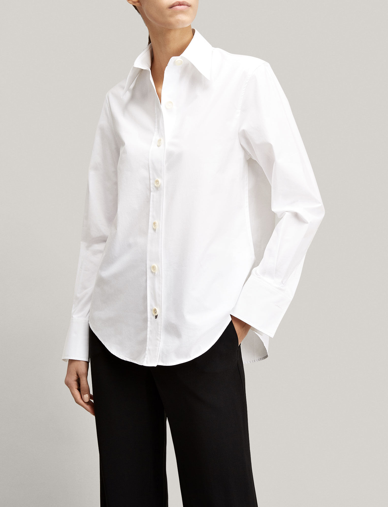 Joseph, Poplin New Garçon Blouse, in WHITE