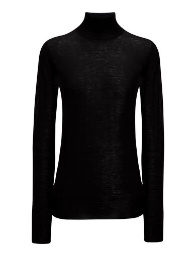 Cashair High Neck Sweater, in BLACK, large | on Joseph