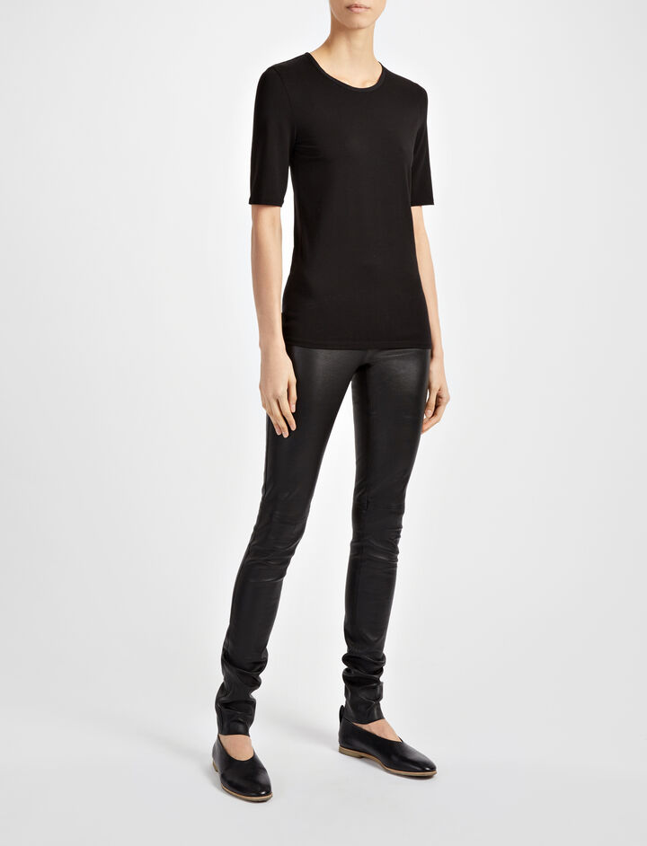 Cotton Lyocell Stretch Top, in BLACK, large | on Joseph