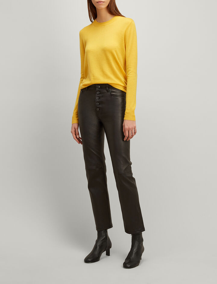 Joseph, Cashair Round Neck Sweater, in DANDELION