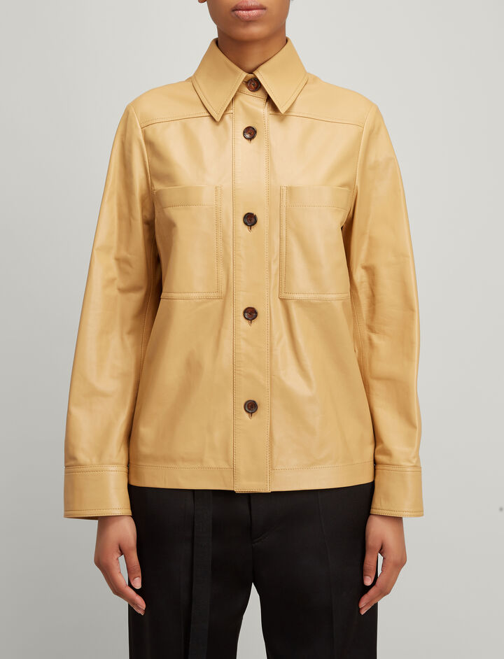 Nappa Leather Coen Jacket, in CAMEL, large | on Joseph
