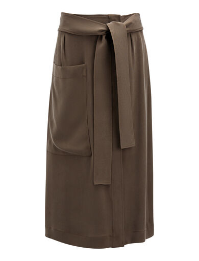 Matt Silk Calle Skirt, in Taupe, large | on Joseph