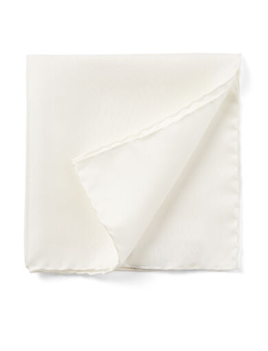 Silk Pocket Square, in WHITE, large | on Joseph