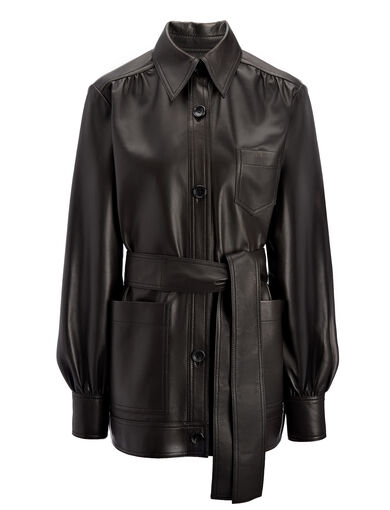 Matt Nappa Leather Saul Jacket, in BLACK, large | on Joseph