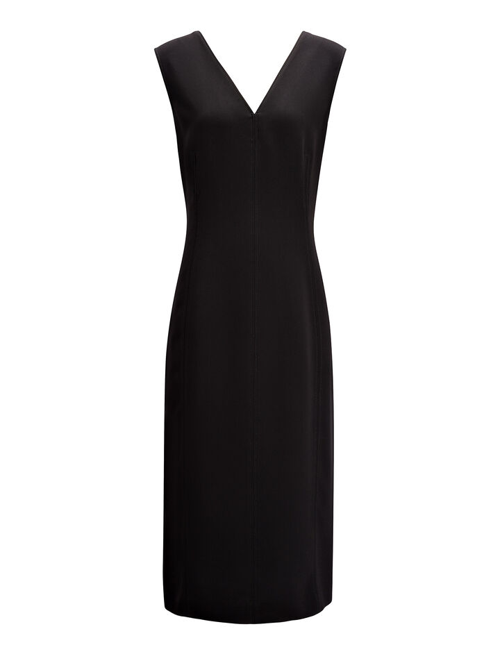 Stretch Flou Dana Dress , in BLACK, large | on Joseph