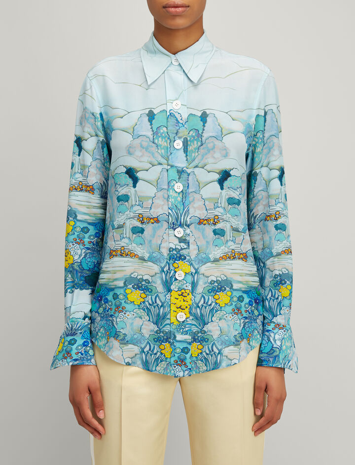 Landscape Print Silk New Garcon Shirt, in BLUE, large | on Joseph