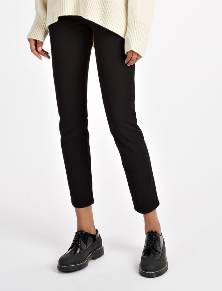 Gabardine Stretch New Eliston Trousers, in BLACK, large | on Joseph