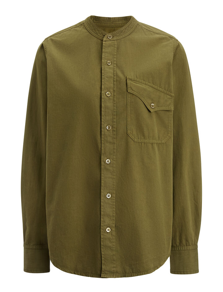 Cotton Shirting Sadie Blouse, in ARMY, large | on Joseph