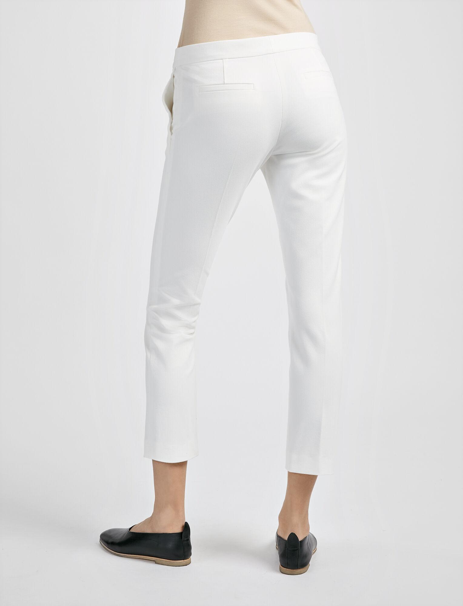 Pantalon Finley en gabardine stretch, in OFF WHITE, large | on Joseph