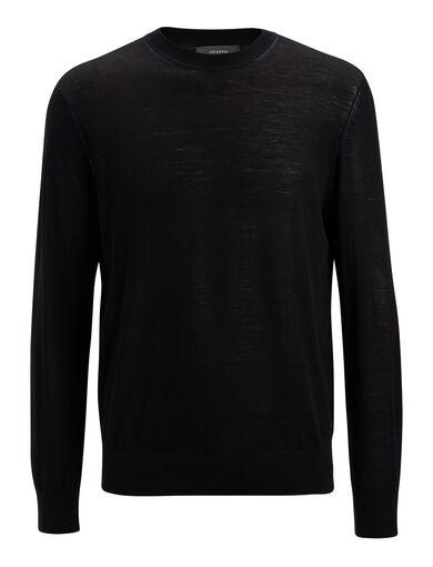 Light Merinos Sweater, in BLACK, large | on Joseph