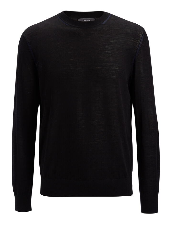 Light Merinos Sweater, in BLACK, large | on Joseph