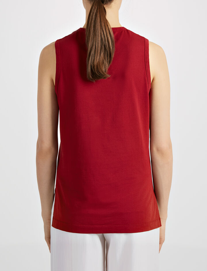 Garment Dyed Jersey Tank, in CRANBERRY, large   on Joseph