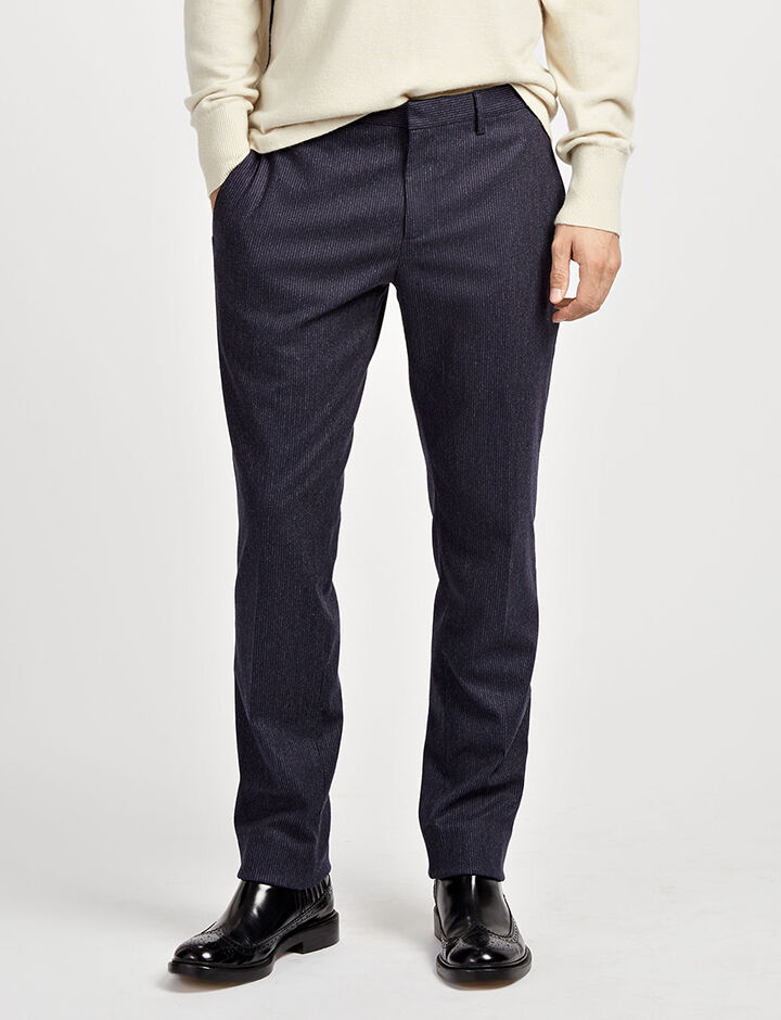 Small Stripe Jack Suiting Trousers, in MARINE, large | on Joseph