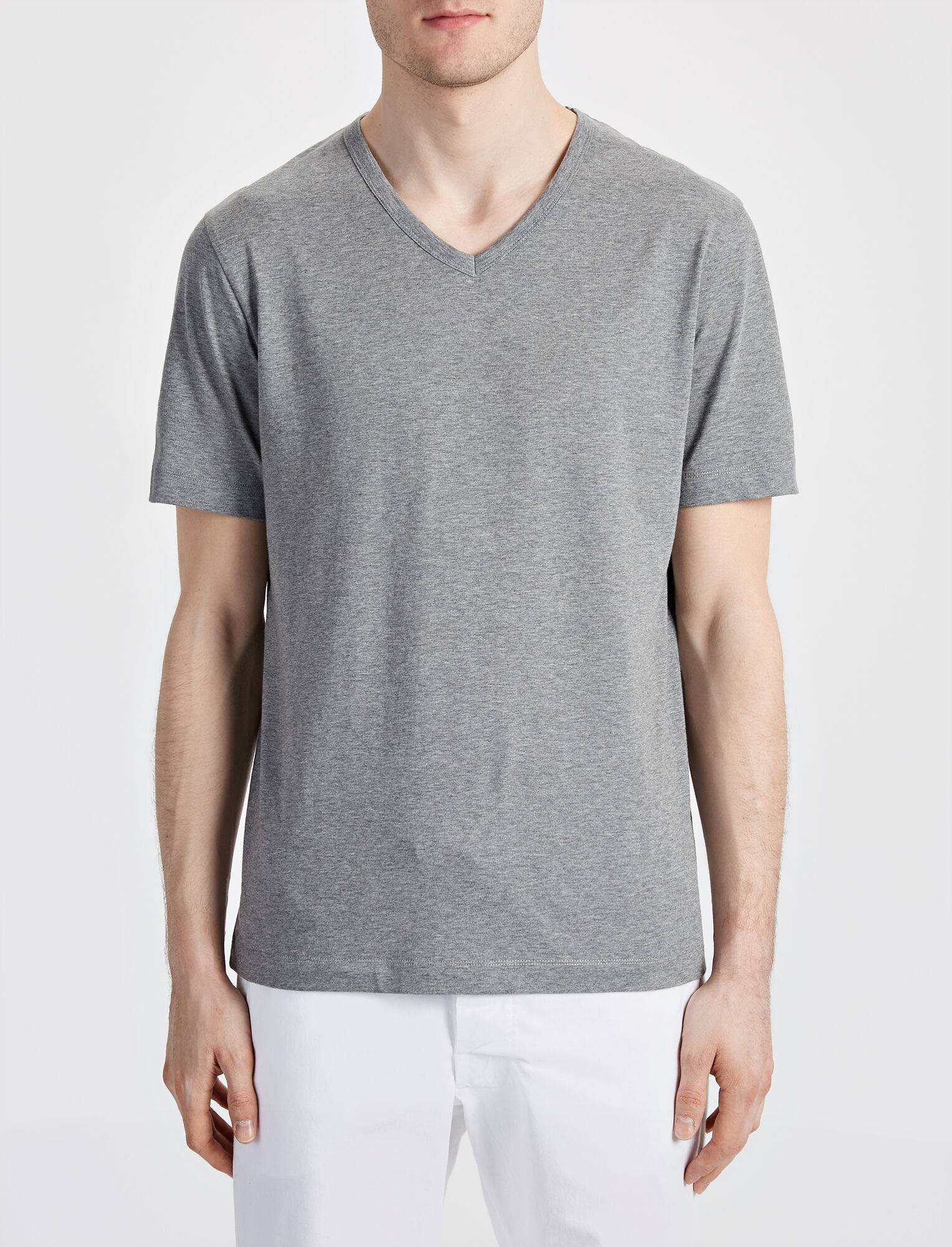 Joseph, Mercerized Jersey V Neck Tee, in GREY CHINE