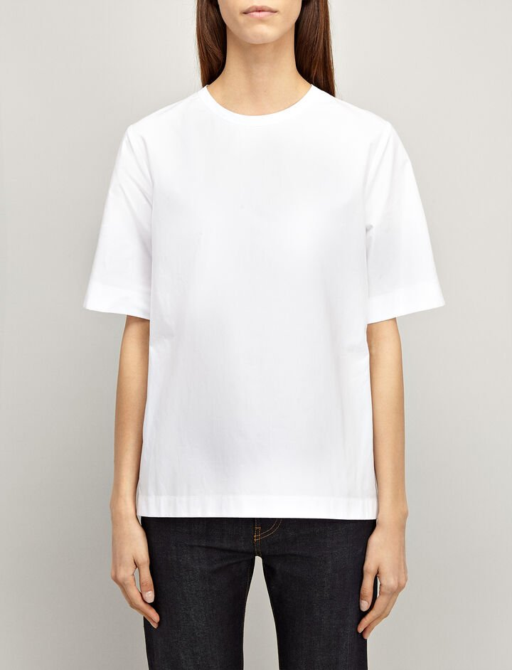 Cotton Poplin Foley Blouse, in WHITE, large | on Joseph