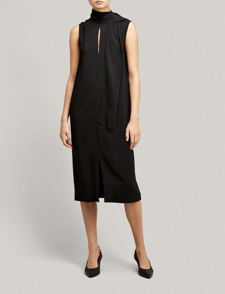Joseph, Viscose Cady Noon Dress, in BLACK