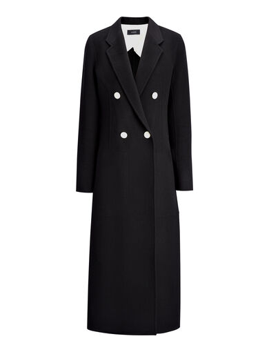 Manteau Bailey en double cachemire, in BLACK, large | on Joseph