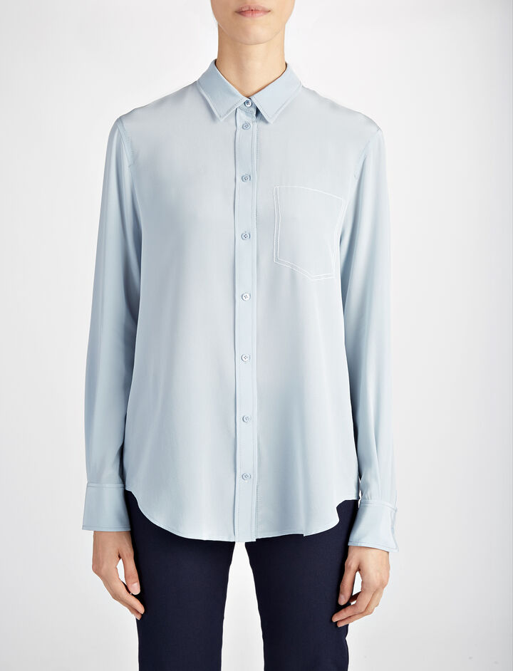 Crepe de Chine New Garçon Blouse, in POWDER BLUE, large | on Joseph