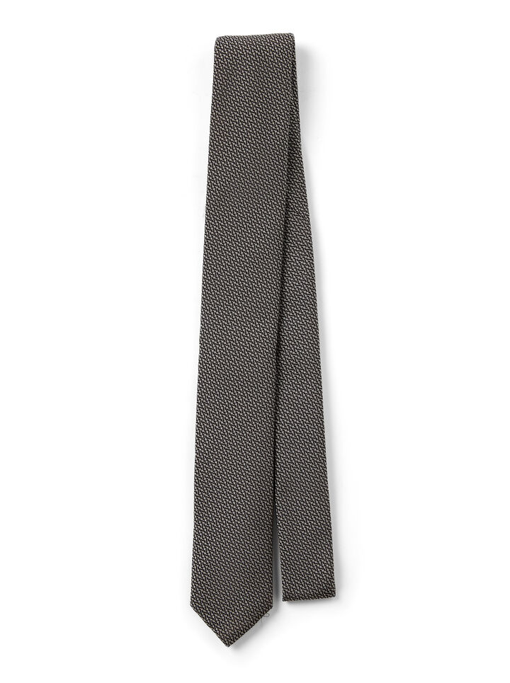 Printed Silk Tie, in BLACK, large | on Joseph