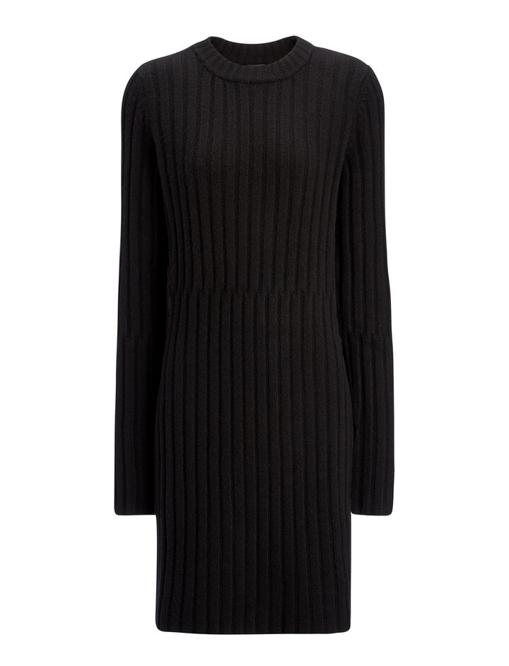 Soft Wool Rib Tunic, in BLACK, large | on Joseph