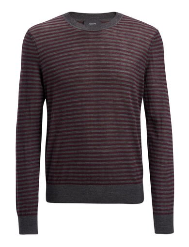 Light Stripe Tee, in Charcoal/Burgundy, large | on Joseph