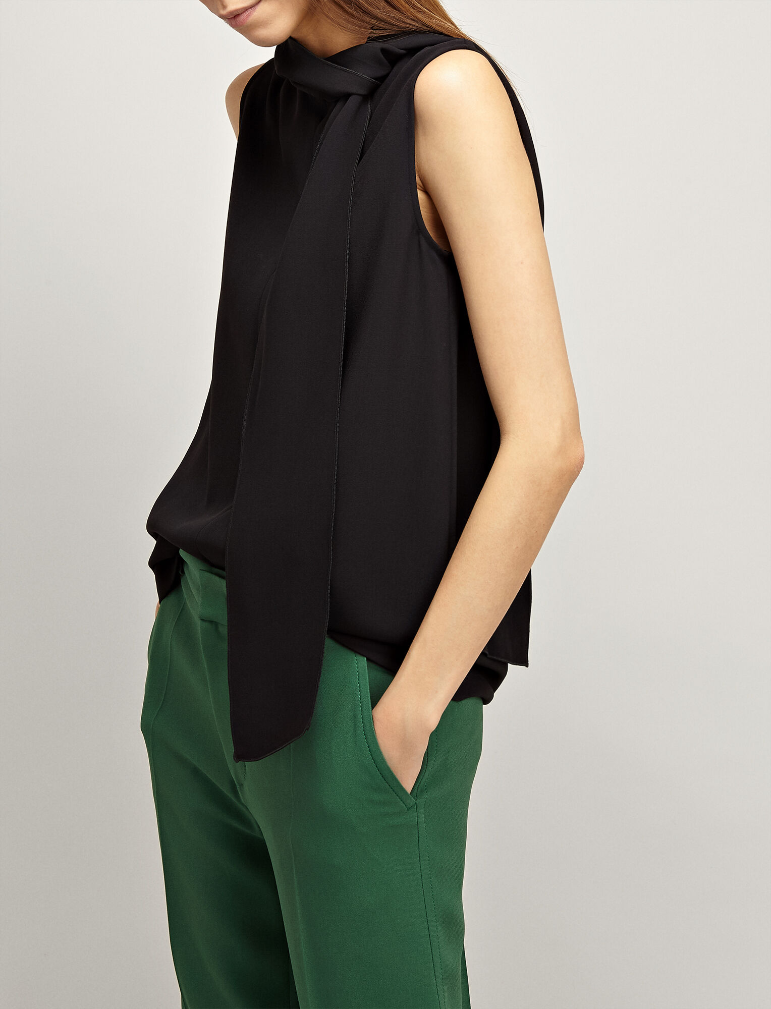 Joseph, Viscose Cady Noon Blouse, in BLACK