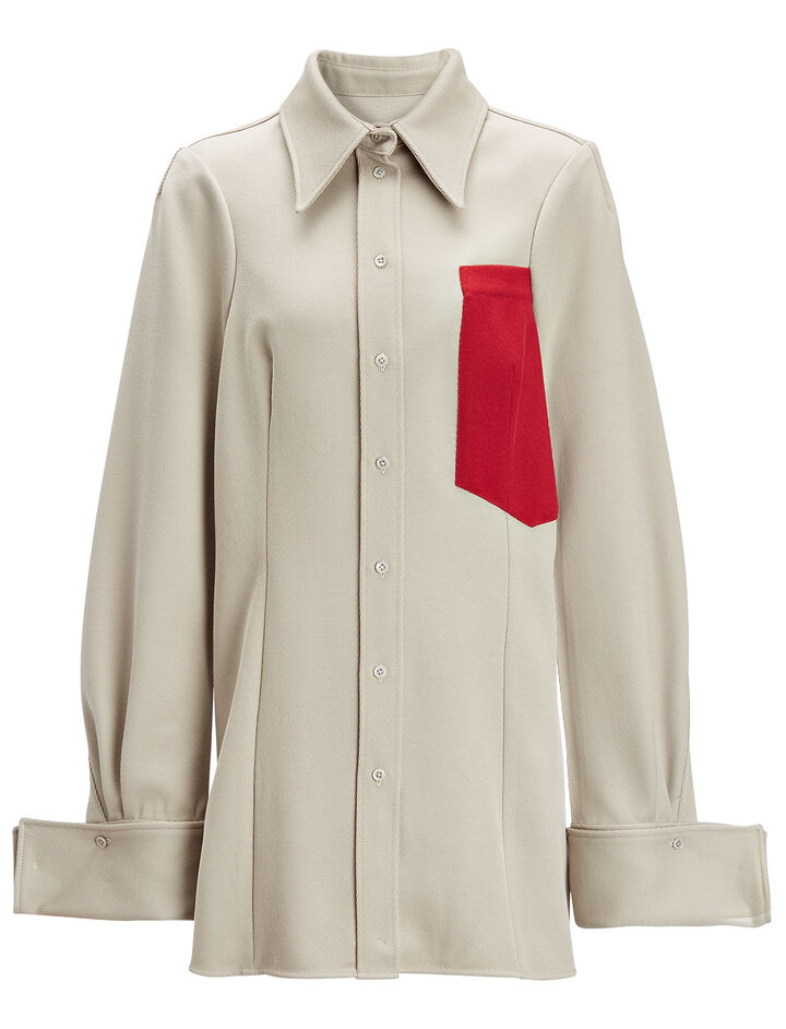 Cavalry Twill Moss + Pocket Blouse, in STONE, large | on Joseph