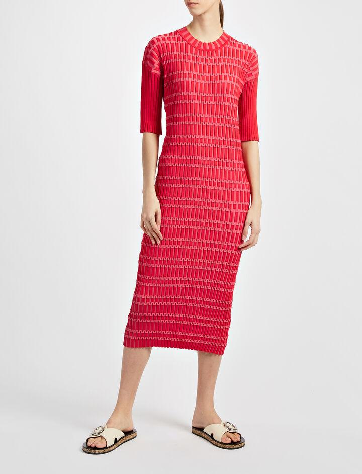 Plaited Nylon Rib Oneida Dress, in BERRY, large | on Joseph