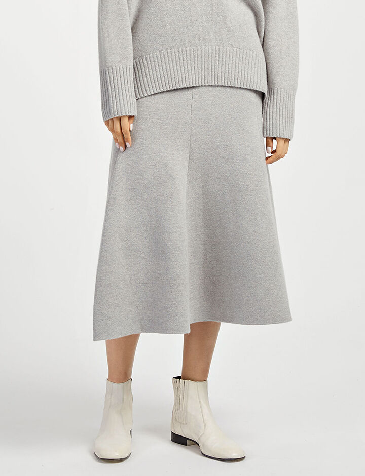 Soft Wool Skirt, in CONCRETE, large | on Joseph