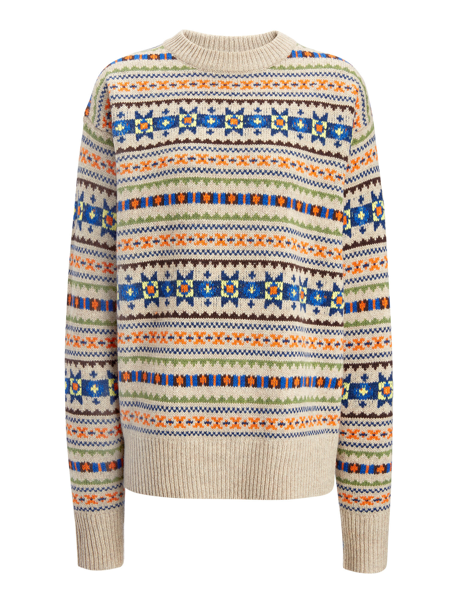 Fair Isle Knit Double Sweater, in BEIGE, large   on Joseph