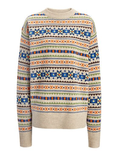 Pull en double tricot fair isle, in BEIGE, large | on Joseph
