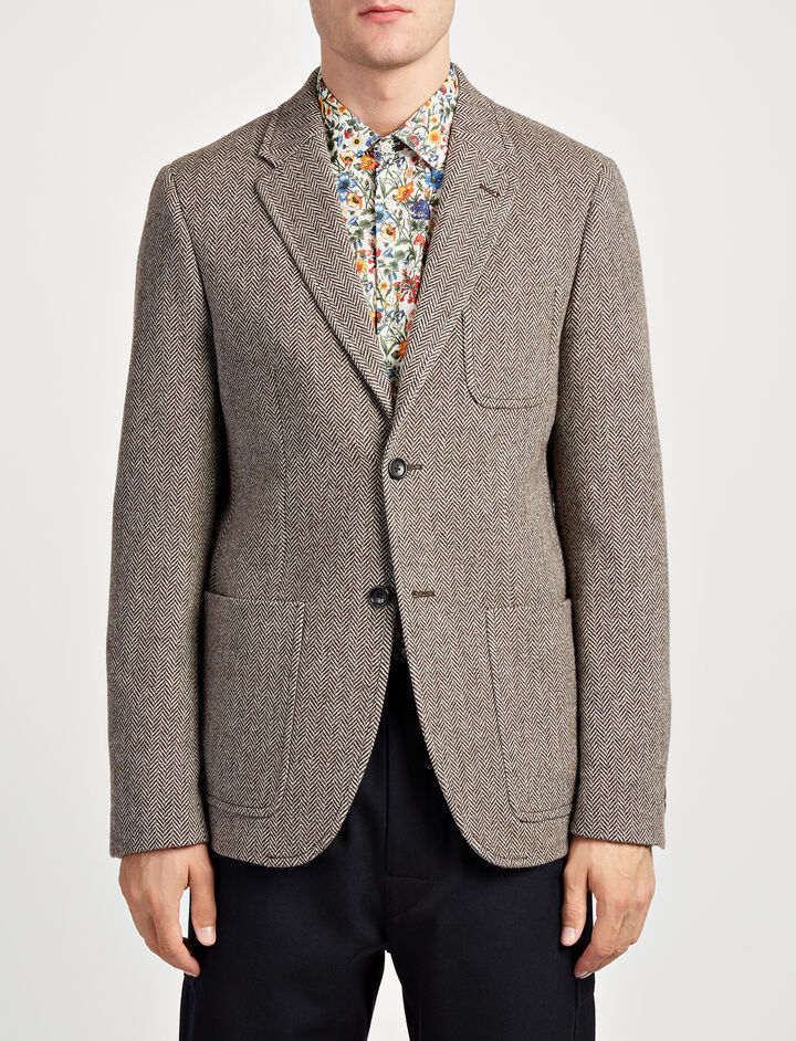 Herringbone Seaton Jacket, in TAUPE, large | on Joseph