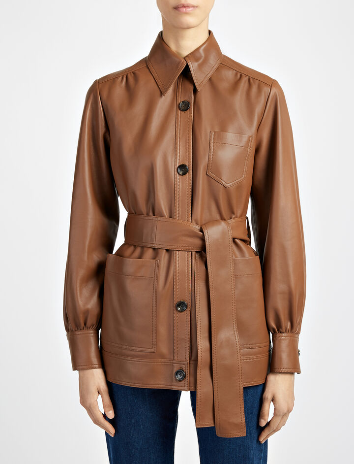 Matt Nappa Leather Saul Jacket, in TOBACCO, large | on Joseph