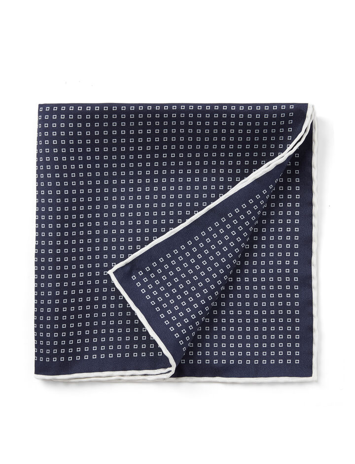 Silked Printed Pocket Square, in NAVY, large | on Joseph
