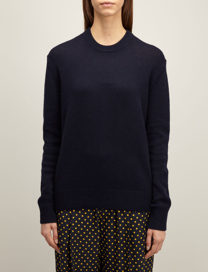 Open Cashmere Round Neck Sweater, in NAVY, large | on Joseph