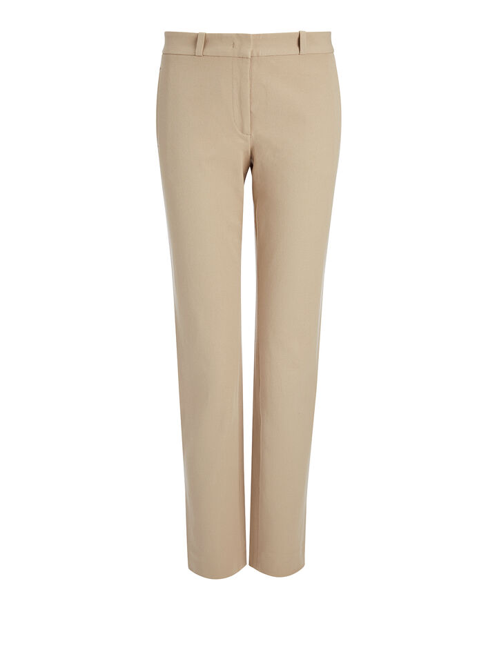 Gabardine Stretch New Eliston Trouser, in BEIGE, large | on Joseph