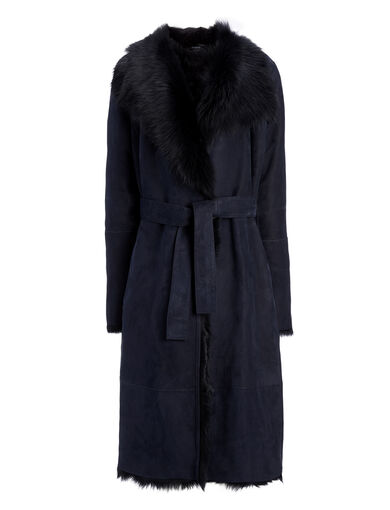 Long Hair Toscana Lima Sheepskin, in NAVY, large | on Joseph