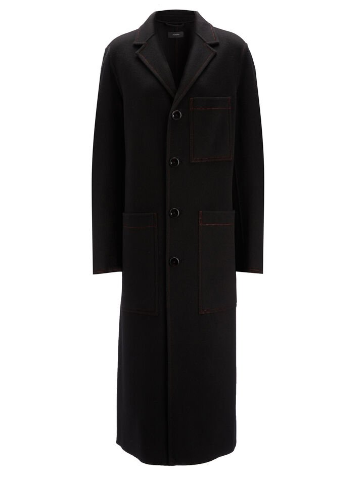 Double Face Cashmere Mag Coat, in BLACK, large | on Joseph