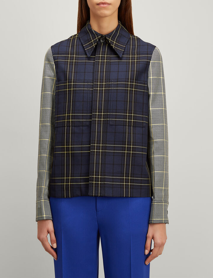 Joseph, Patchwork Check Coen Blazer, in BLUE COMBO