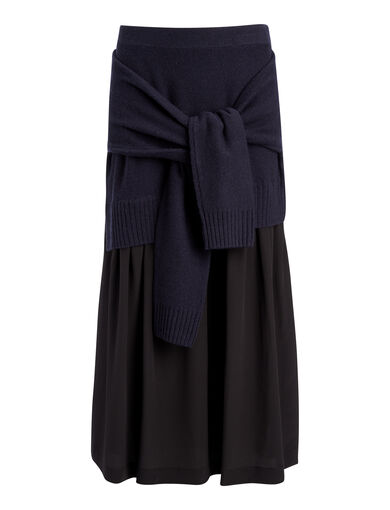 Wool Cashmere + Crepe de Chine Skirt, in NAVY, large | on Joseph