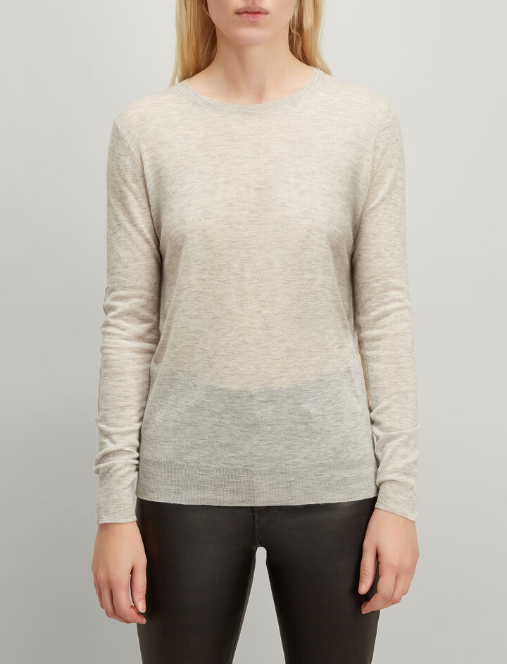 Cashair and Patch Round Neck Sweater , in GREY CHINE, large | on Joseph