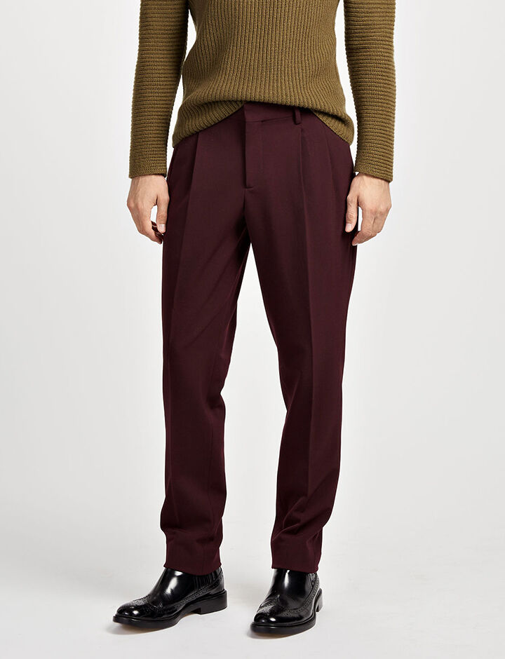 Techno Wool Stretch Clive Trousers, in BURGUNDY, large | on Joseph