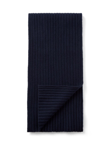 Cashmere Luxe Rib Scarf, in NAVY, large | on Joseph